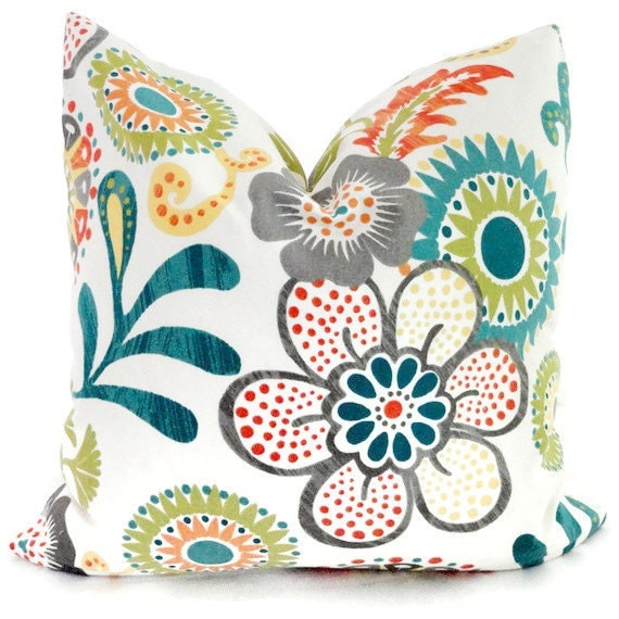 orange turquoise and green mod floral decorative pillow. Black Bedroom Furniture Sets. Home Design Ideas