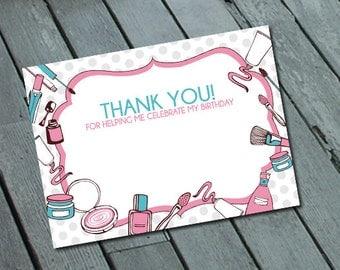 Girl's SPA Theme THANK YOU card: Digital printable file