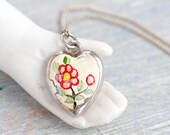 Dainty Heart Necklace - Sterling Silver and Hand Painted Enamel Love Pendant on Chain - Short Sweet Necklace