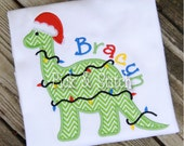 Christmas Dinosaur Applique Design Machine Embroidery INSTANT DOWNLOAD
