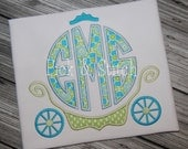 Princess Carriage Monogram Frame Applique Design Machine Embroidery INSTANT DOWNLOAD