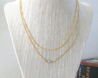 Satellite Chain and Delicate Sparkle Necklace Set, Tiny Swarovski Crystal, Pear Crystal, Layered Necklaces, Gold Necklaces