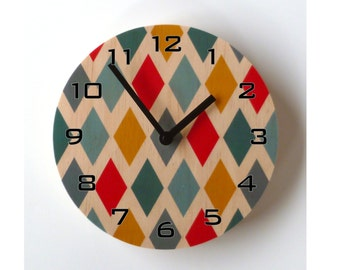 Objectify Harlequin Wall Clock With Numerals - Medium Size