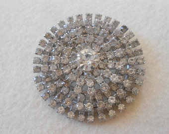 Vintage Rhinestone Brooch, Huge, Round, Designer Signed, Garne Jewelry, Clear, Crystal, Layered, Pin, Bridal, Wedding, Flower, Bouquet