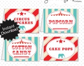 Editable Vintage Circus Party Food Labels - Instant Download PDF Template - Editable PDF .. svc01