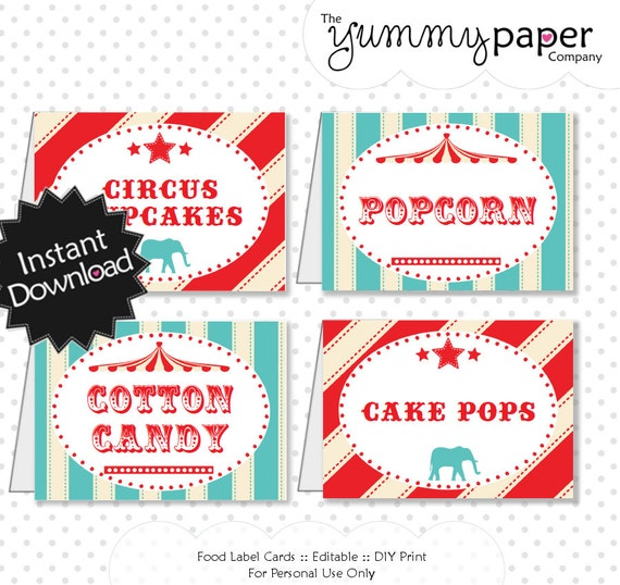 Editable Vintage Circus Party Food Labels