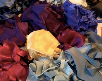 Silk Fabric Scraps, 1 oz. bag, 19mm Charmeuse Silk for Paper making, Scrap booking, Needle Felting, Jewelry Making and more