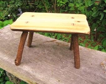 RUSTIC FIRESIDE STOOL - Adirondack Bench - Tramp Art - Folk Art - Primitive Stool - Twig Bench - Stick Bench - Wood - Wooden - Stool - Bench