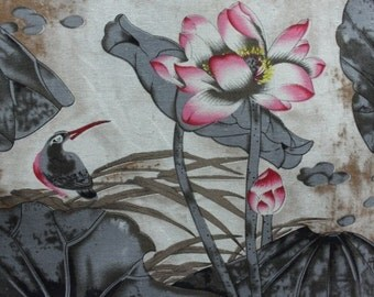 bird and lotus pattern cotton and linen chinese fabric half yard