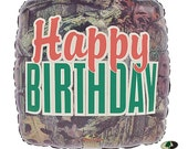"""1-18"""" Green Brown Orange Happy Birthday Camo Mossy Oak Balloon Party Decorations Hunting Camouflage"""