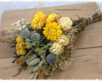 Yellow Sunny Collection w/ Soft Gray Blue Accents - DIY Bundle of Coordinating Flowers - Dried flowers - cream yellow sage - Rustic Wedding