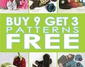 Pattern SALE: Buy 9 PATTERNS Get 3 FREE!