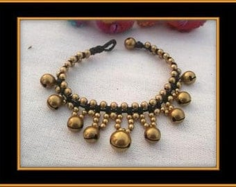 Thai handmade Jingle bell bracelet woven with dark brown wax rope weaved togeter with brass beads and brass bells Valentines day/Gold/charm