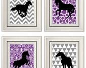 Set of Four Modern Vintage Purple/Gray Horse Wall Art - Print Set - Home Decor - 8x11 Prints (Unframed)