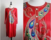 Vintage 70s Peacock Boho Hippie Indian Ethnic Gypsy Dress. Size S/M