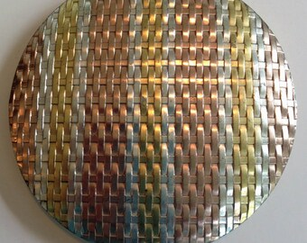 Large Sterling Silver Evans Basket Weave Compact-1945