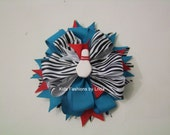 Zebra/Turquoise/Red Bowling Hair Bow with Alligator Clip or Barrette