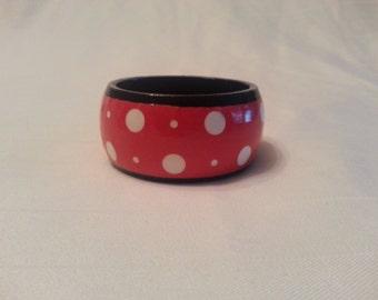 New Handmade Spring Bangle Bracelets round bold pink poka dot design