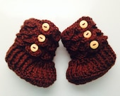 Custom Baby Crochet CROCODILE STITCH Booties with Buttons -- Sizes 0-12 mos -- You Pick Colors!