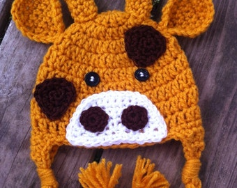 Baby Toddler Girl Boy GIRAFFE Crochet Beanie Earflap Hat - You Pick Size: Newborn to 5yrs - Cute Winter Hat Photo Prop