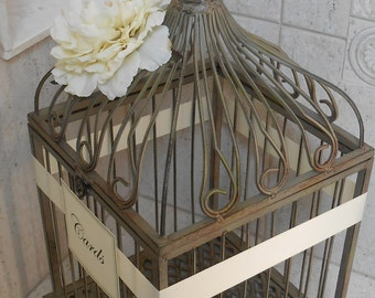 Birdcage Wedding Card Holder / Vintage Wedding / Rustic Wedding / Shabby Wedding / Birdcage Cardholder /  Wedding Card Holder  / Birdcage