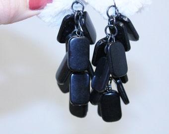 Long Flat Black Bead Cluster Dangle Earrings- Pierced