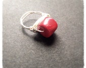 Red coral sterling silver ring // size 8