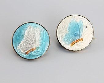 Guilloche Butterfly Brooch. Scatter Pins Set Pair, Art Deco Brooch Jewelry, Blue White enamel
