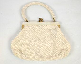1960s Classic White/Ivory Beaded Handbag, Clutch by La Regale