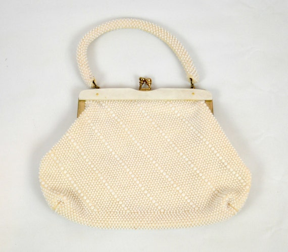 1960s Classic White/Ivory Beaded Handbag, Clutch by La Regale