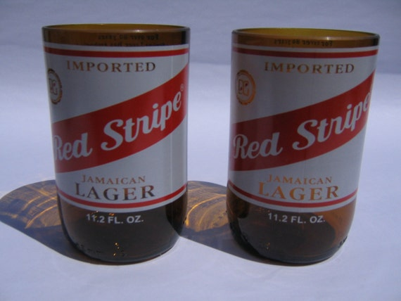 Red Stripe Recycled Jamaican Lager Glasses - Set of 2