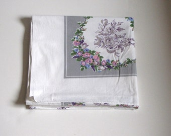 Vintage White Gray Purple Floral Table Cloth - Approx 51 inches X 46 inches