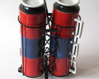 Vintage RED BLUE BLACK Coffee Cups and Wire Caddy