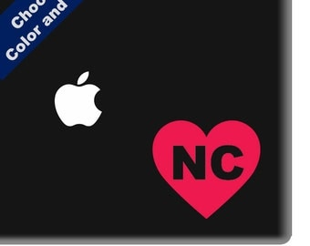 I Heart North Carolina Decal - Love - for Laptop, Car, iPhone