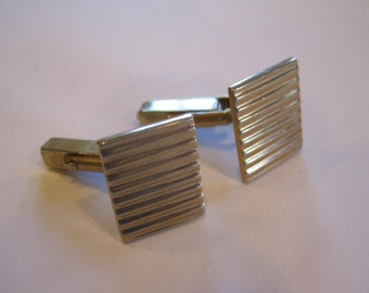 Vintage 1950s 1960s Cuff Links Goldtone by Swank Cufflinks Incised Stripes Square Ribbed Midcentury Modern MCM Fashion