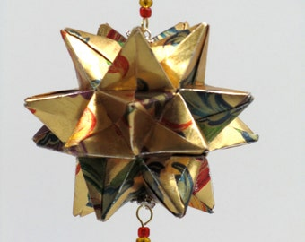 CHRISTMAS GIFt Star Ball 3D Modular Origami Ornament Decoration in Gold & W/Red Green Print Handmade on Gold Tone Stand SOLD OOAK