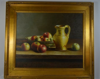 Apples and Pitcher Still Life. Original Oil Painting. Vintage Signed and Professionally Framed. Gilded Frame.