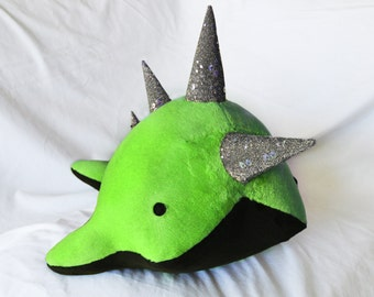 Large Narwhal Plush with Mohawk - MADE TO ORDER - (Choose colors)
