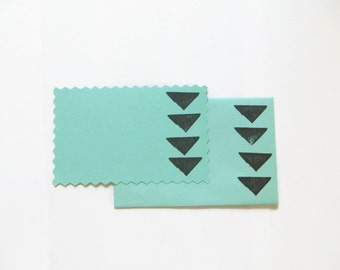 5 Geometric Flat Cards, Black Triangle Stationery, Card and Envelope Set, Mint and Black Greeting Cards, Modern Note Cards