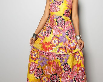 SALE 50 % !! Was 59 now 29.5 >Summer Maxi Dress / Red Yellow Floral Print Long Sun Dress : Hippie Chickie Collection