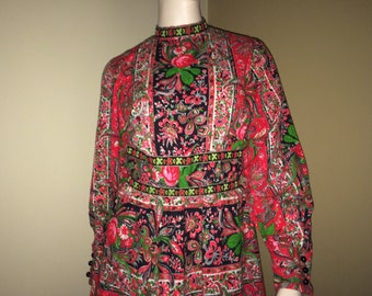 Vintage Vibrant Black Red and Green R & K Originals  Maxi Dress, Vintage Seventies Dress, 1970's Dress, Vintage Clothing