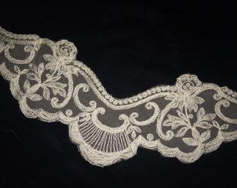 Vintage White / Ivory Nylon Lace, Vintage Wedding Lace, Vintage Bridal Lace, Vintage Bride, Vintage Lingerie Lace