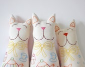 Toy Cat Plushie Soft Toy with hand embroidery