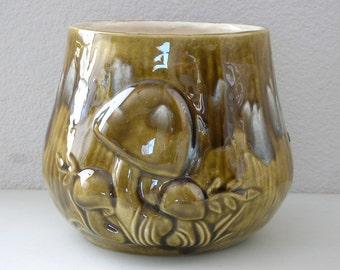 Mushroom Ceramic Planter White Drip Glaze Toadstool Avocado Green Flower Pot Indoor Herb Planter Pot Mushroom Home Decor Green Drip Glaze