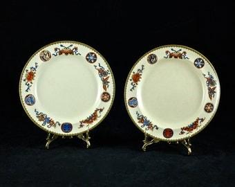 Antique Wedgwood Brown Polychrome Transferware Plates - Set of 2