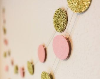 12 ft. Gold and Blush Glitter Bokeh Paper Garland - Round Circle Bunting - Wedding Decoration - Brithday Decor - Nursery - Bridal - Pink