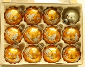 Box of Vintage Glass Christmas Ornaments - Christmas Tree Ornaments - Twelve Gold and Silver Holiday Decorations