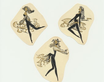 Lot of 3 Vintage Mod Glamour Girl Decals - Black & Gold Water Transfer Decals