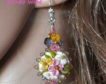 CAMEO WINE Lampwork and Crystal Earrings,Beaded Earrings,Dangle Earrings,Floral Earrings,Ivory and Pink Earrings,Romance