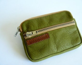 Leather wallet -Retro Moss Green leather coin purse - wallet - Christmas gift -Gift for him -Gift for her -aseismanos